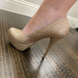 Bakers gold glitter pumps